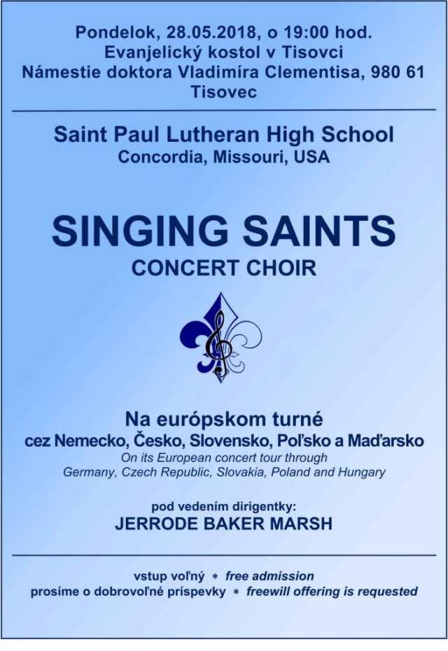 28.5.2018 – KONCERT – SPEVOKOL SINGING SAINTS, Tisovec