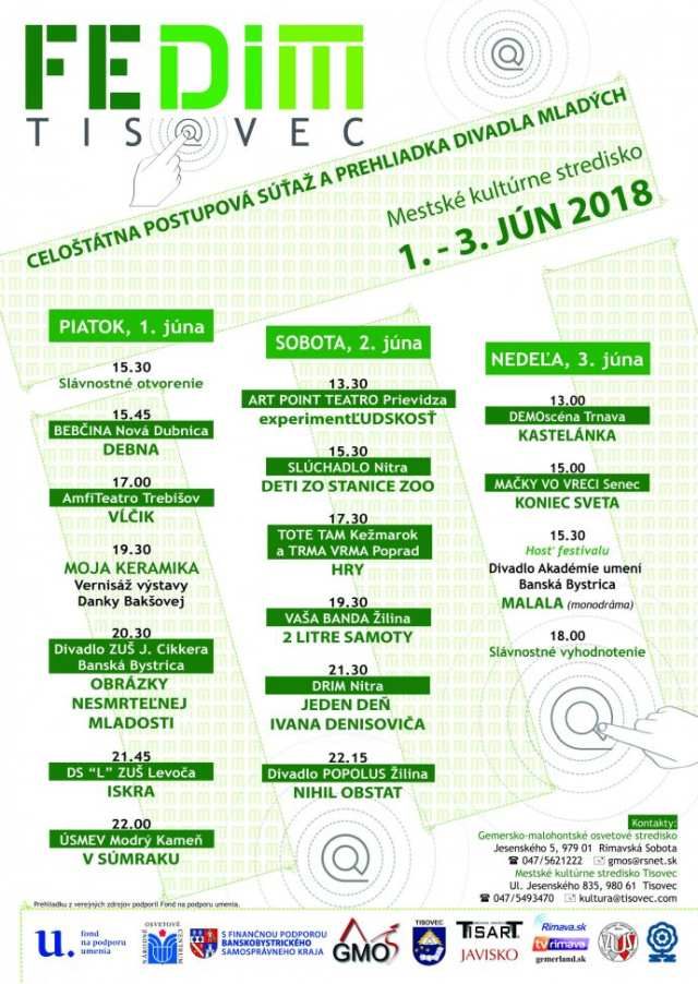 1.- 3. 6. 2018 – FESTIVAL DIVADLA MLADÝCH – FEDIM, Tisovec