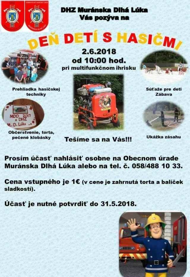 2.6.2018 DEŇ DETÍ S HASIČMI, Muránska Dlhá Lúka