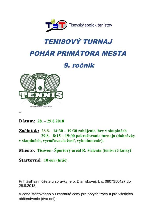 28. -29. 8. 2018 – TENISOVÝ TURNAJ O POHÁR PRIMÁTORA MESTA, Tisovec