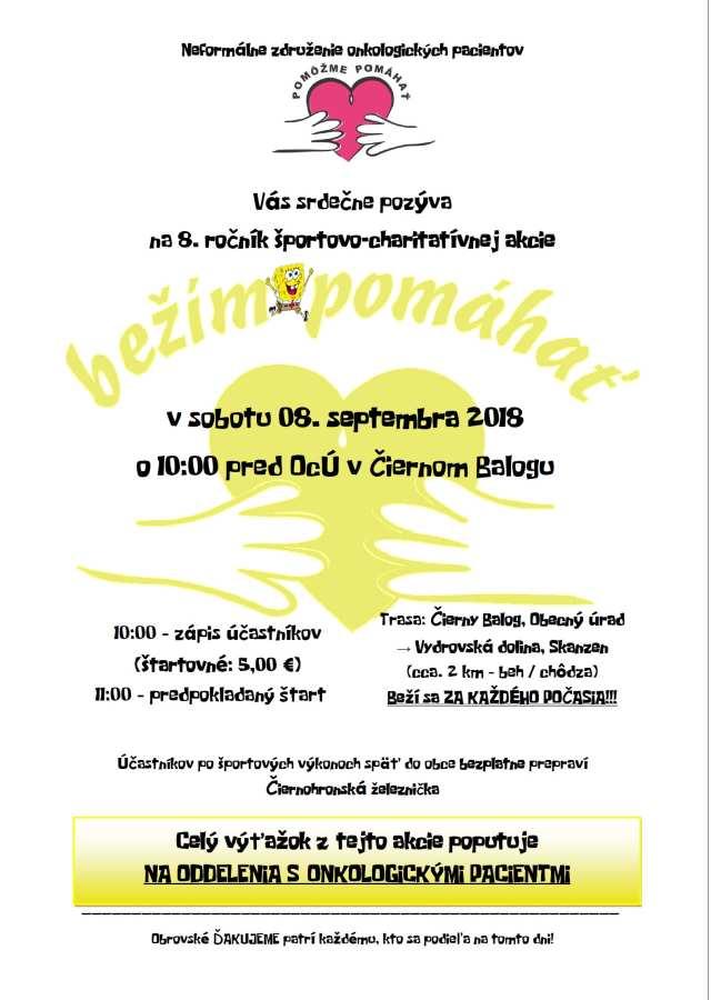 8. 9. 2018 BEŽÍM POMÁHAŤ – 8. ročník športovo-charitatívnej akcie, Čierny balog
