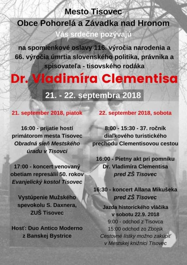 21. – 22. 9. 2018 CLEMENTISOVE DNI, Tisovec