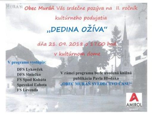 21.9.2018 – DEDINA OŽÍVA, Muráň
