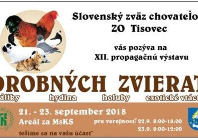 21. -23. 9.2018 – XII. PROPAGAČNÁ VÝSTAVA DROBNÝCH ZVIERAT, Tisovec