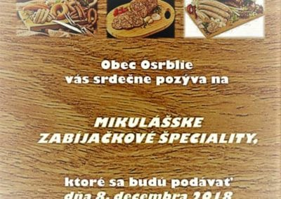 8.12.2018 – MIKULÁŠSKE ZABÍJAČKOVÉ ŠPECIALITY, Osrblie