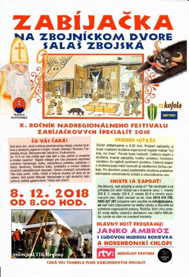 8.12.2018 ZABÍJAČKA NA ZBOJNÍCKOM DVORE, Salaš Zbojská