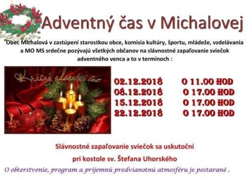 2. – 22.12.2018 – ADVENTNÝ ČAS V MICHALOVEJ, Michalová