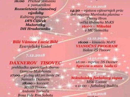 1.-31.12.2018 VIANOCE V TISOVCI, Tisovec