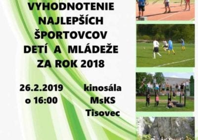 26. 2. 2019 NAJLEPŠÍ ŠPORTOVEC DETÍ A MLÁDEŽE, Tisovec