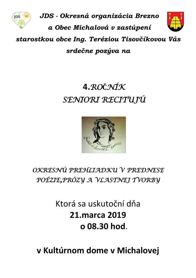 21.3.2019 SENIORI RECITUJÚ, Michalová