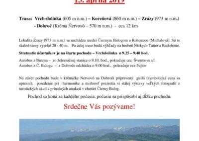 13.4.2019 JARNÝ TURISTICKÝ POCHOD, Čierny Balog a Brezno