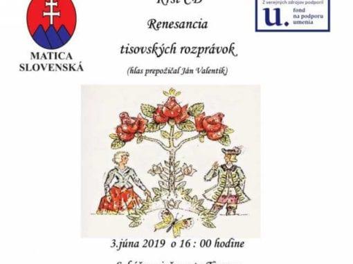 3.6.2019 CODEX TAXOVIENSIS C2 – RENESANCIA TISOVSKÝCH ROZPRÁVOK, Tisovec