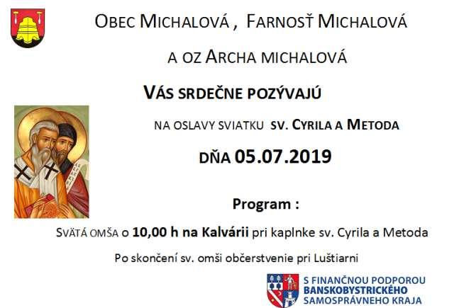 5.7.2019 OSLAVY SVIATKU SV. CYRILA A METODA, Michalová