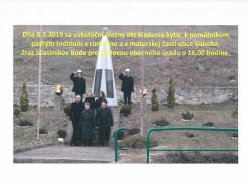 8.3.2019 – Oslobodenie obce – pietny akt kladenia kytíc, Valaská