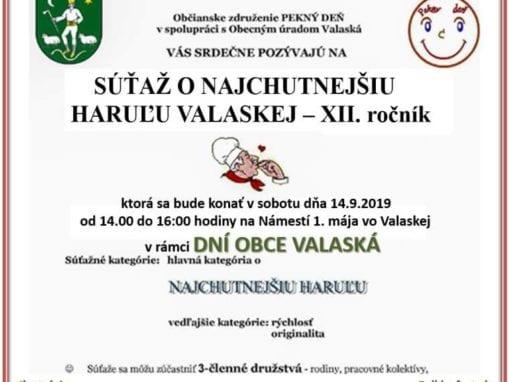 14.9.2019 – SÚŤAŽ O NAJCHUTNEJŠIU HARUĽU, Valaská