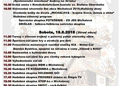 17. – 19. 8. 2018 – DNI OBCE MICHALOVÁ
