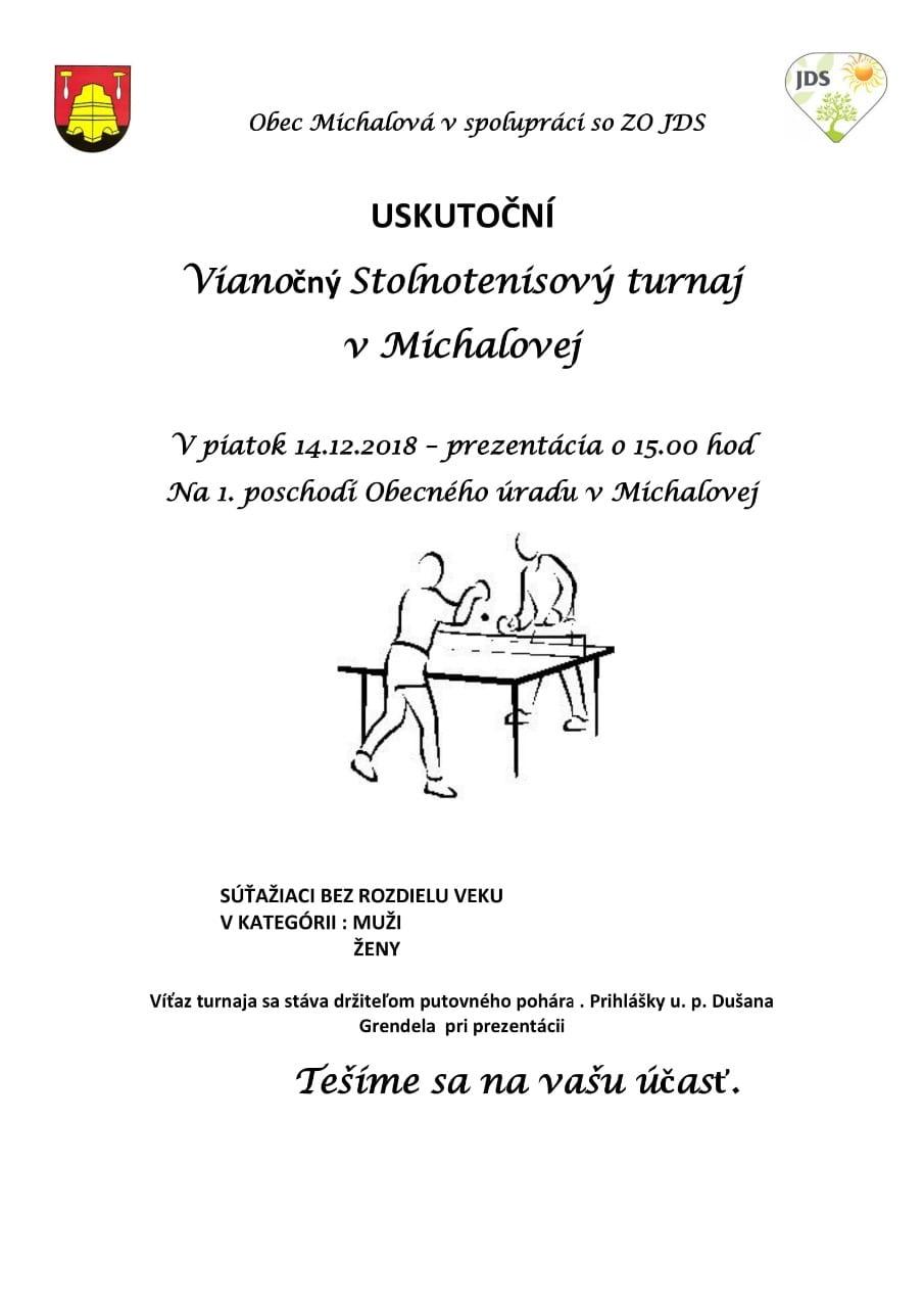 14.12.2018 VIANOČNÝ STOLNOTENISOVÝ TURNAJ, Michalová