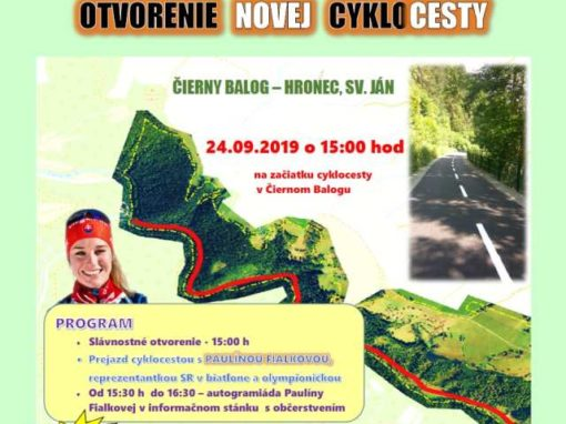 24.9.2019 OTVORENIE NOVEJ CYKLOCESTY s Paulínou Fialkovou, Čierny Balog