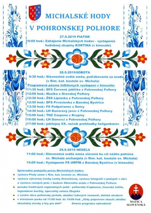 27.-29.9.2019 MICHALSKÉ HODY, Pohronská Polhora