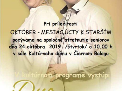 Október – mesiac úcty k starším, Čierny Balog