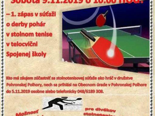 Súťaž v stolnom tenise medzi obcami Pohronská Polhora a Michalová